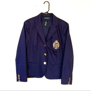 Ralph Lauren Crested Three Button Navy Blazer L